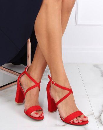 Sandale cu toc culoarea roşu 142938
