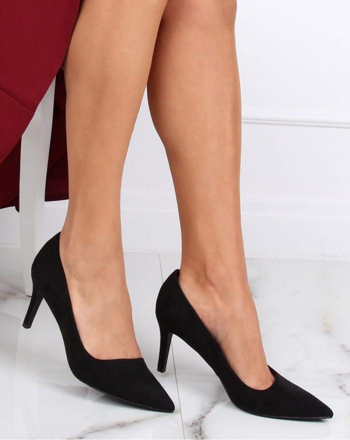 Pantofi cu toc subţire (stiletto) culoarea negru 142945