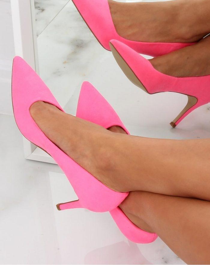 Pantofi cu toc subţire (stiletto) culoarea roz 142946