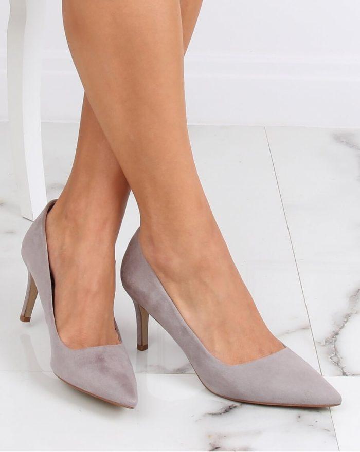 Pantofi cu toc subţire (stiletto) culoarea gri 142947