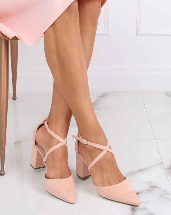 Pantofi dcu toc gros culoarea roz 143179