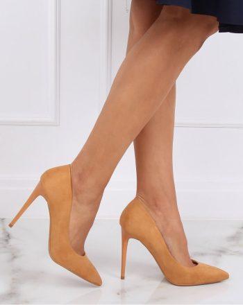 Pantofi cu toc subţire (stiletto) culoarea maro 143181