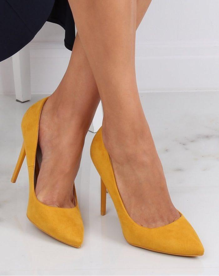 Pantofi cu toc subţire (stiletto) culoarea galben 143184