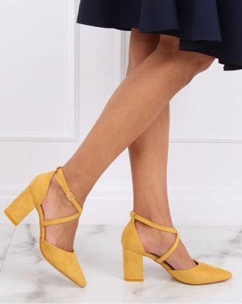 Pantofi dcu toc gros culoarea galben 143186