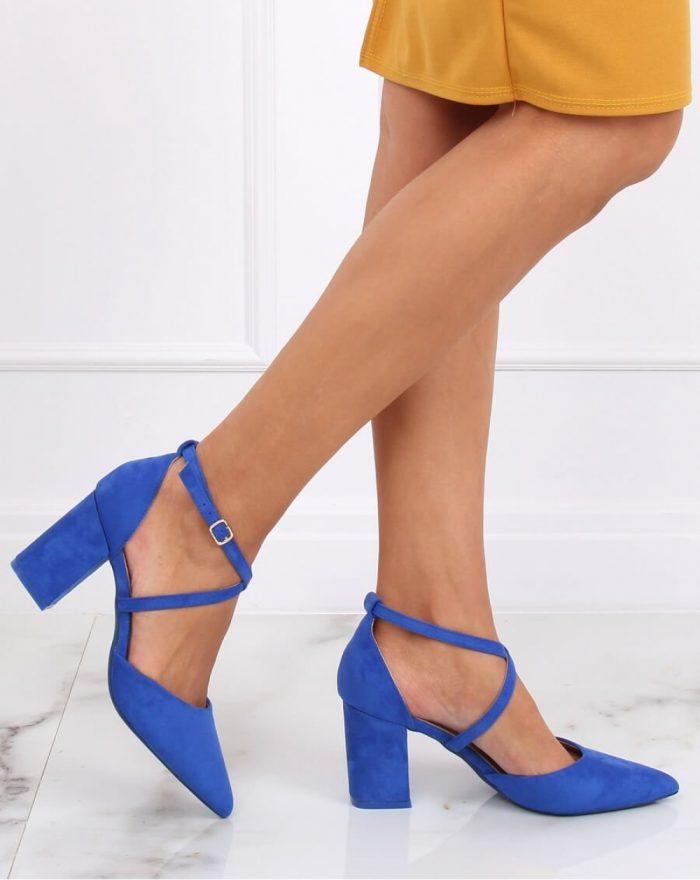 Pantofi dcu toc gros culoarea albastru 143187