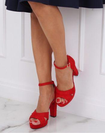 Sandale cu toc culoarea roşu 143188