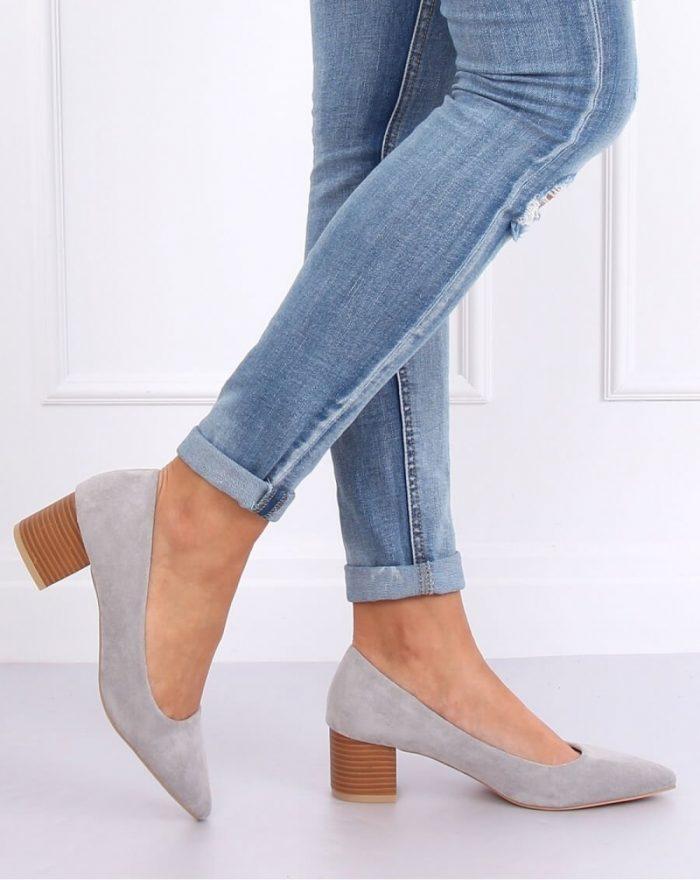 Pantofi dcu toc gros culoarea gri 143527