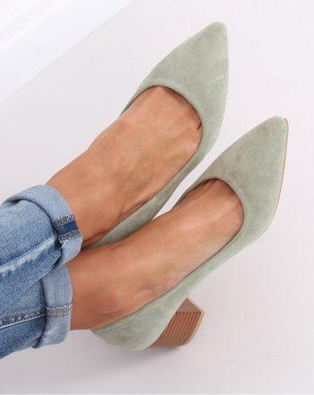 Pantofi dcu toc gros culoarea verde 143528