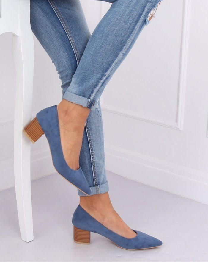 Pantofi dcu toc gros culoarea albastru 143529