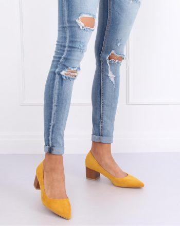 Pantofi dcu toc gros culoarea galben 143530