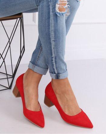 Pantofi dcu toc gros culoarea roşu 143531
