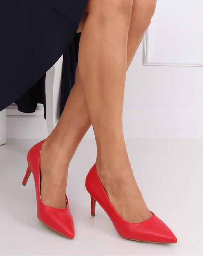 Pantofi cu toc subţire (stiletto) culoarea roşu 143680