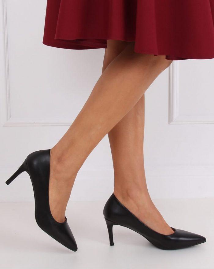 Pantofi cu toc subţire (stiletto) culoarea negru 143682