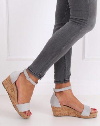 Sandale cu toc culoarea gri 143690