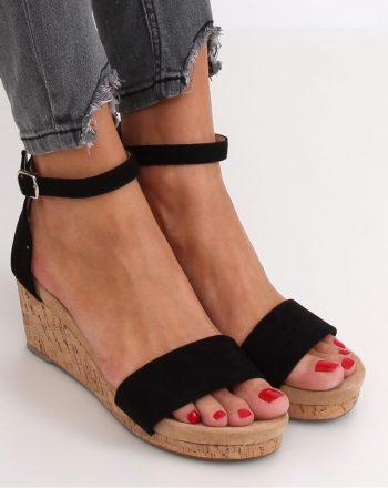 Sandale cu toc culoarea negru 143691